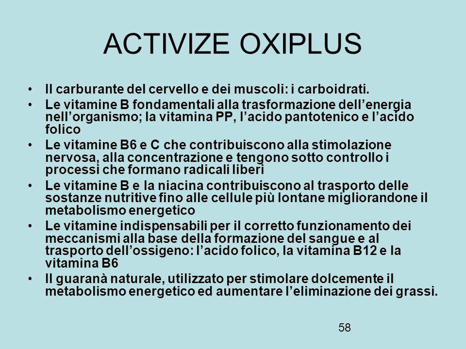 ACTIVIZE OXIPLUS Il carburante del cervello e dei muscoli: i carboidrati.
