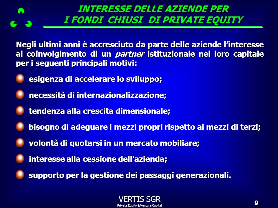 INTERESSE DELLE AZIENDE PER I FONDI CHIUSI DI PRIVATE EQUITY