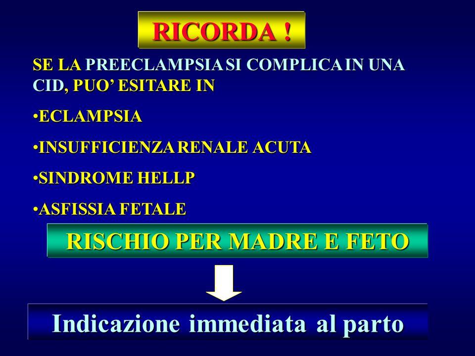 RISCHIO PER MADRE E FETO Indicazione immediata al parto