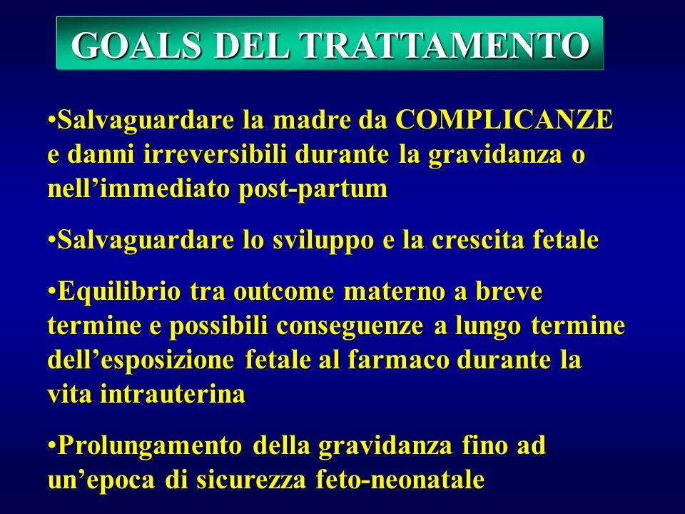 GOALS DEL TRATTAMENTO Salvaguardare la madre da COMPLICANZE e danni irreversibili durante la gravidanza o nell'immediato post-partum.