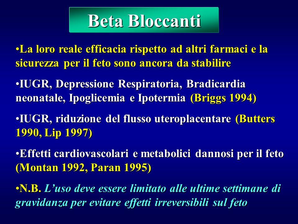 Beta Bloccanti La loro reale efficacia rispetto ad altri farmaci e la sicurezza per il feto sono ancora da stabilire.