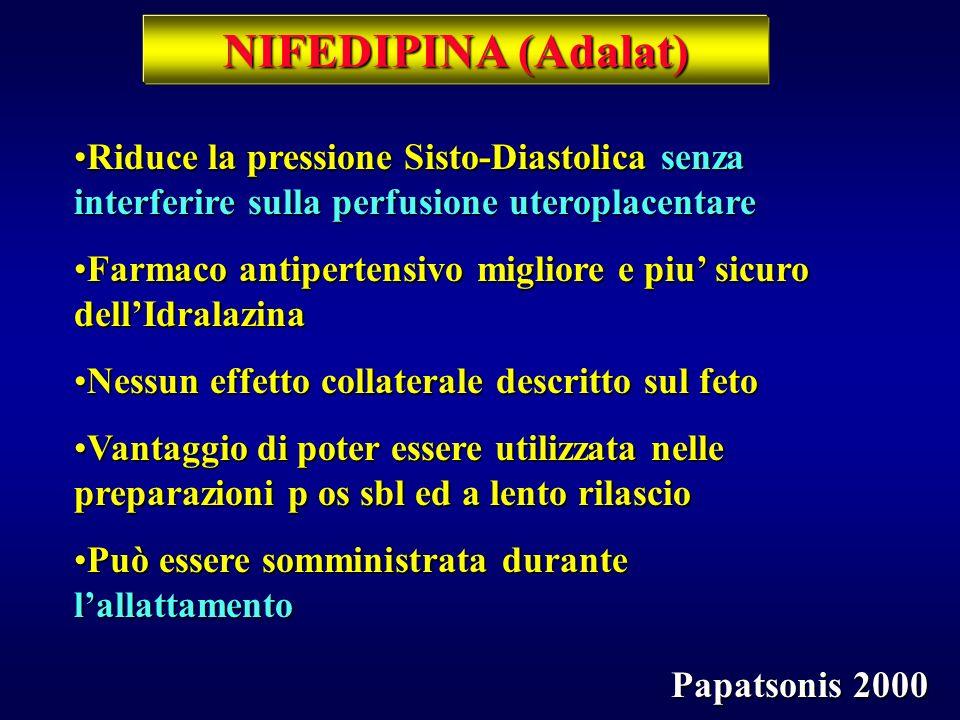 NIFEDIPINA (Adalat) Riduce la pressione Sisto-Diastolica senza interferire sulla perfusione uteroplacentare.