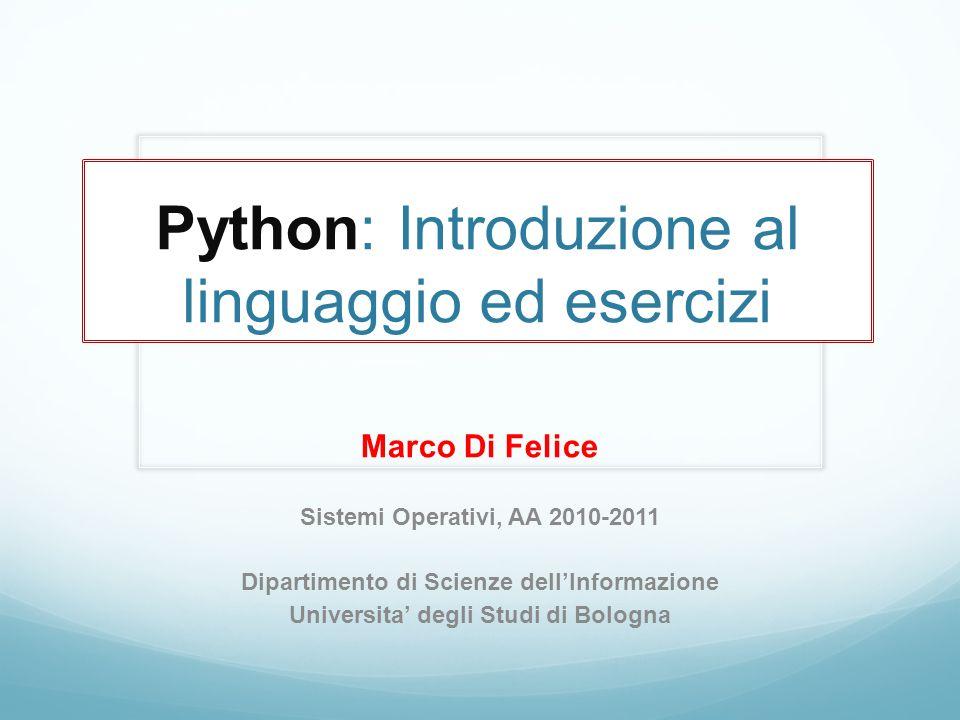 Python: Introduzione al linguaggio ed esercizi