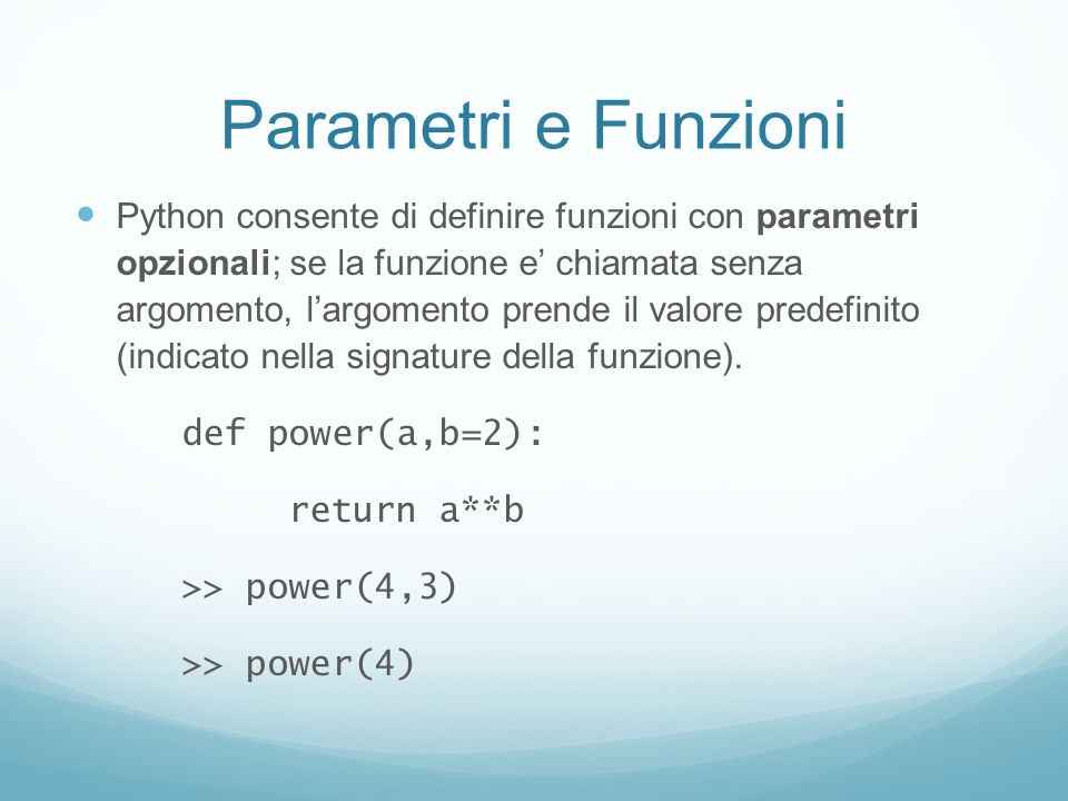 Parametri e Funzioni