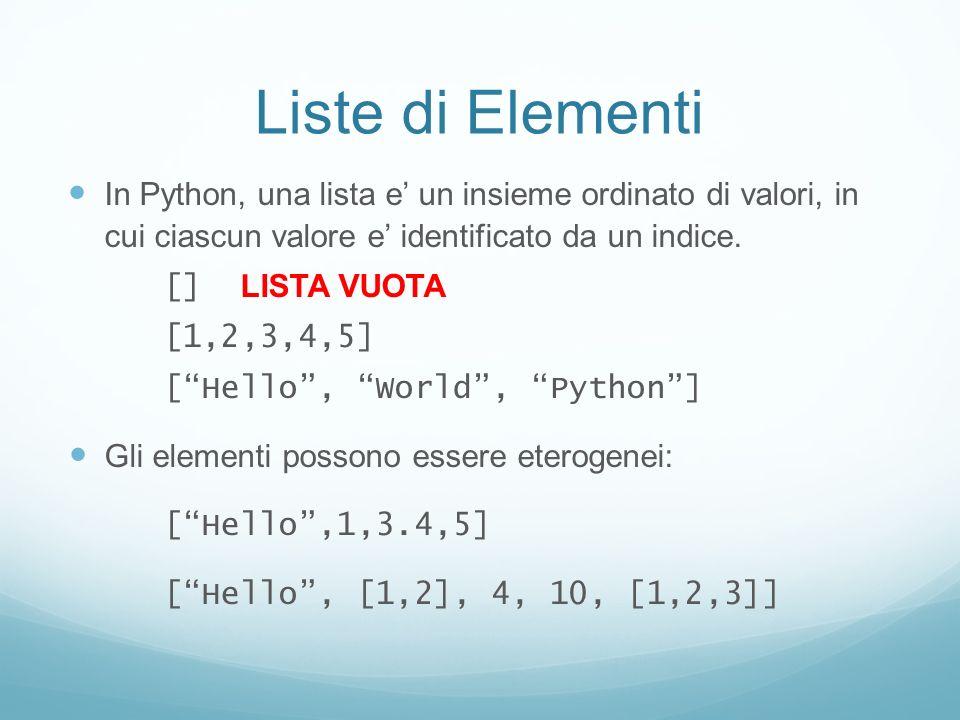 Liste di Elementi In Python, una lista e' un insieme ordinato di valori, in cui ciascun valore e' identificato da un indice.