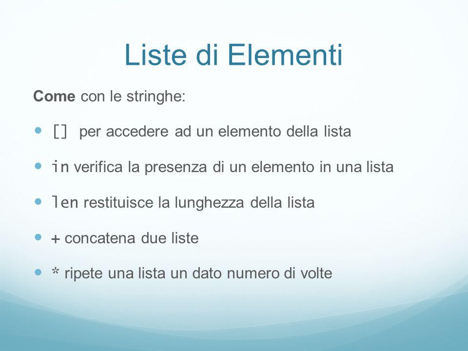 Liste di Elementi Come con le stringhe:
