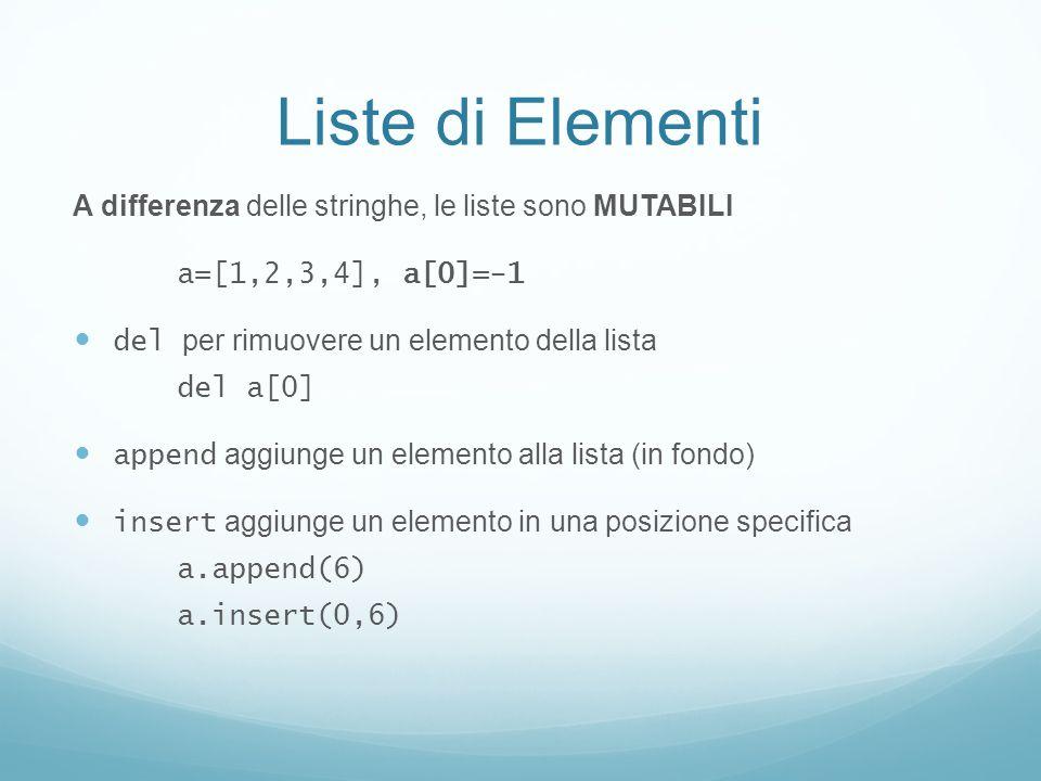 Liste di Elementi A differenza delle stringhe, le liste sono MUTABILI