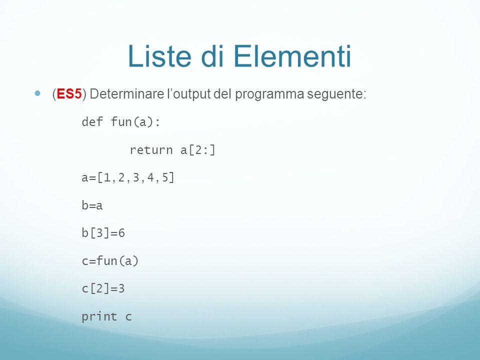 Liste di Elementi (ES5) Determinare l'output del programma seguente: