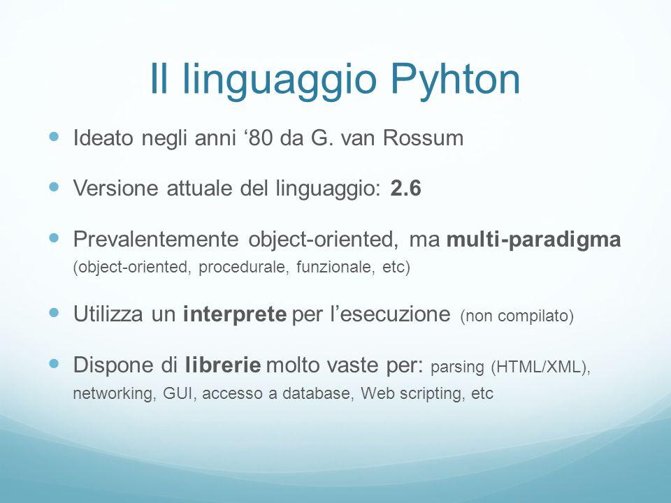 Il linguaggio Pyhton Ideato negli anni '80 da G. van Rossum