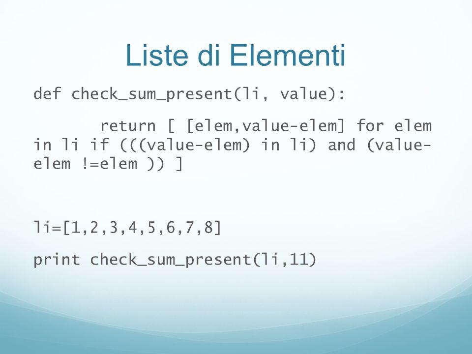 Liste di Elementi