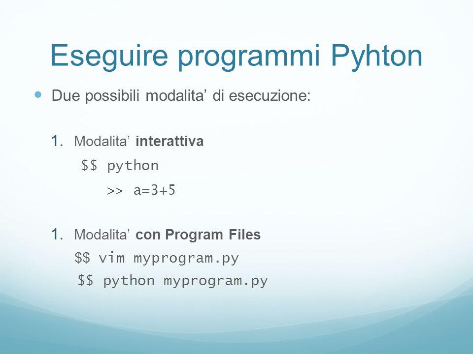 Eseguire programmi Pyhton