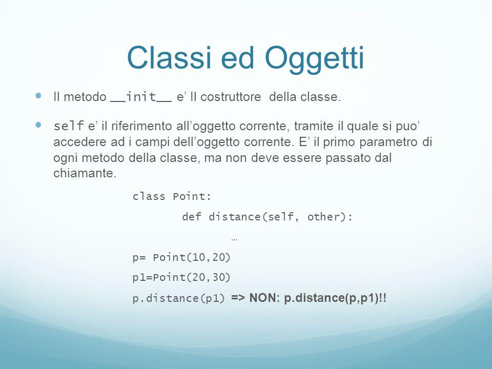 Classi ed Oggetti Il metodo __init__ e' Il costruttore della classe.