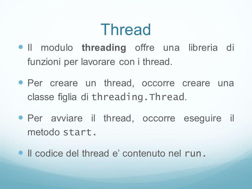Thread Il modulo threading offre una libreria di funzioni per lavorare con i thread.