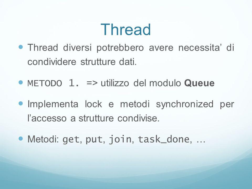 Thread Thread diversi potrebbero avere necessita' di condividere strutture dati. METODO 1. => utilizzo del modulo Queue.
