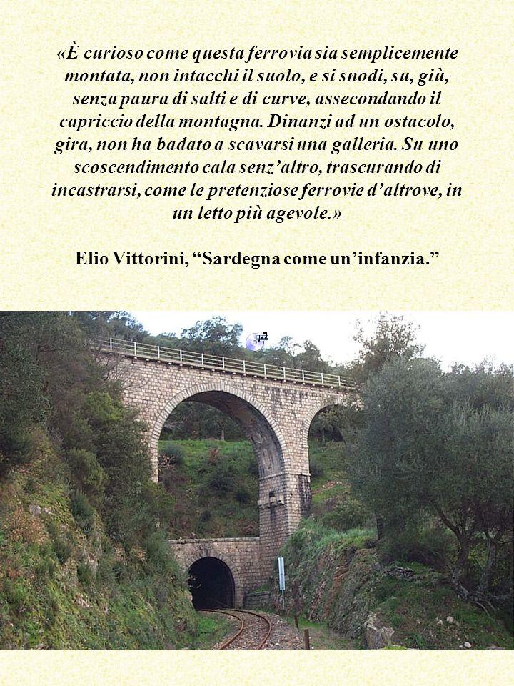 «È curioso come questa ferrovia sia semplicemente montata, non intacchi il suolo, e si snodi, su, giù, senza paura di salti e di curve, assecondando il capriccio della montagna. Dinanzi ad un ostacolo, gira, non ha badato a scavarsi una galleria. Su uno scoscendimento cala senz'altro, trascurando di incastrarsi, come le pretenziose ferrovie d'altrove, in un letto più agevole.» Elio Vittorini, Sardegna come un'infanzia.