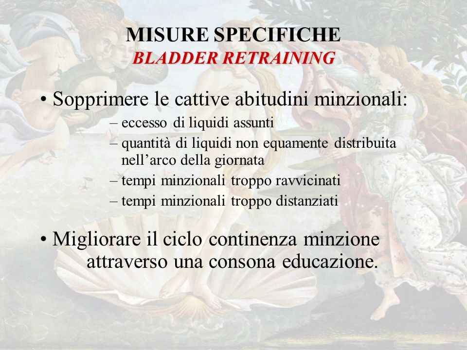 MISURE SPECIFICHE BLADDER RETRAINING
