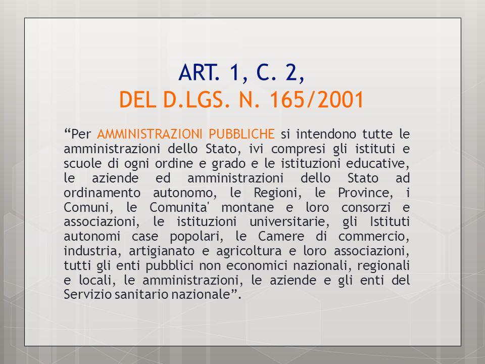 ART. 1, C. 2, DEL D.LGS. N. 165/2001