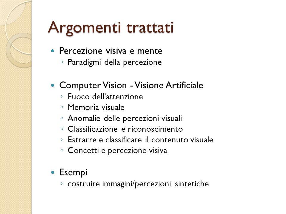 Argomenti trattati Percezione visiva e mente