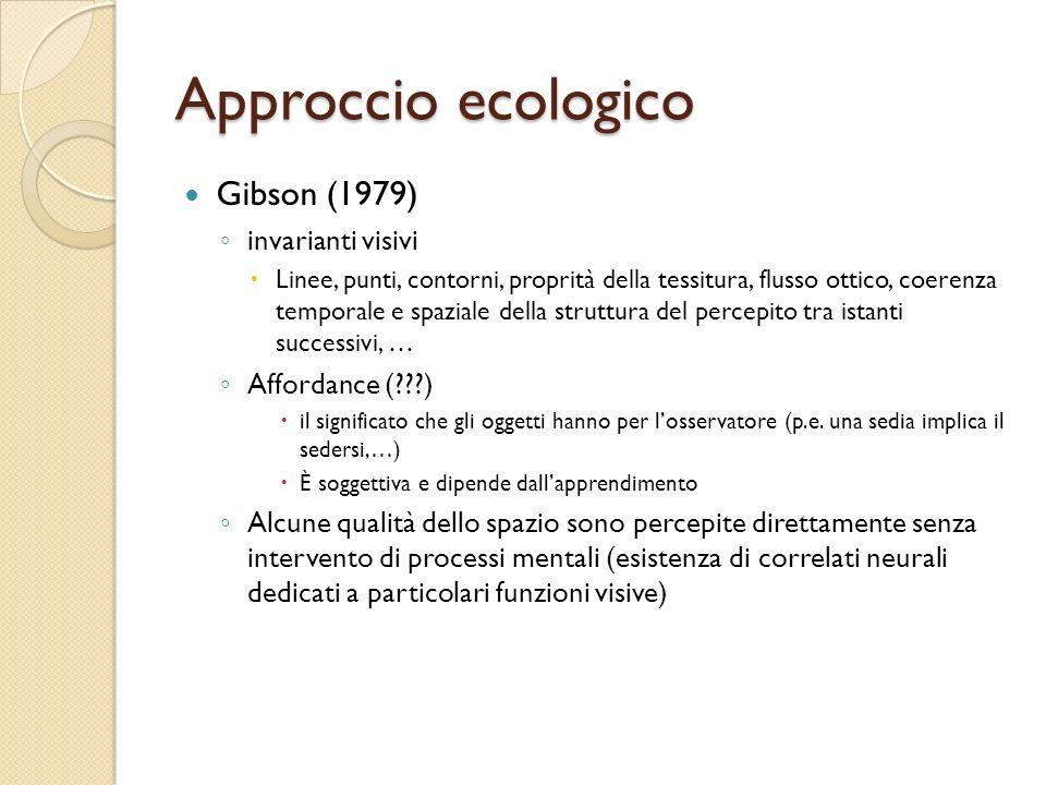 Approccio ecologico Gibson (1979) invarianti visivi Affordance ( )