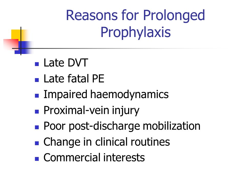 Reasons for Prolonged Prophylaxis