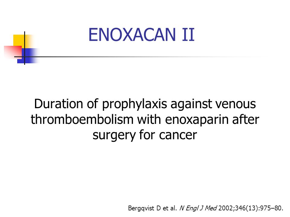 ENOXACAN IIDuration of prophylaxis against venous thromboembolism with enoxaparin after surgery for cancer.