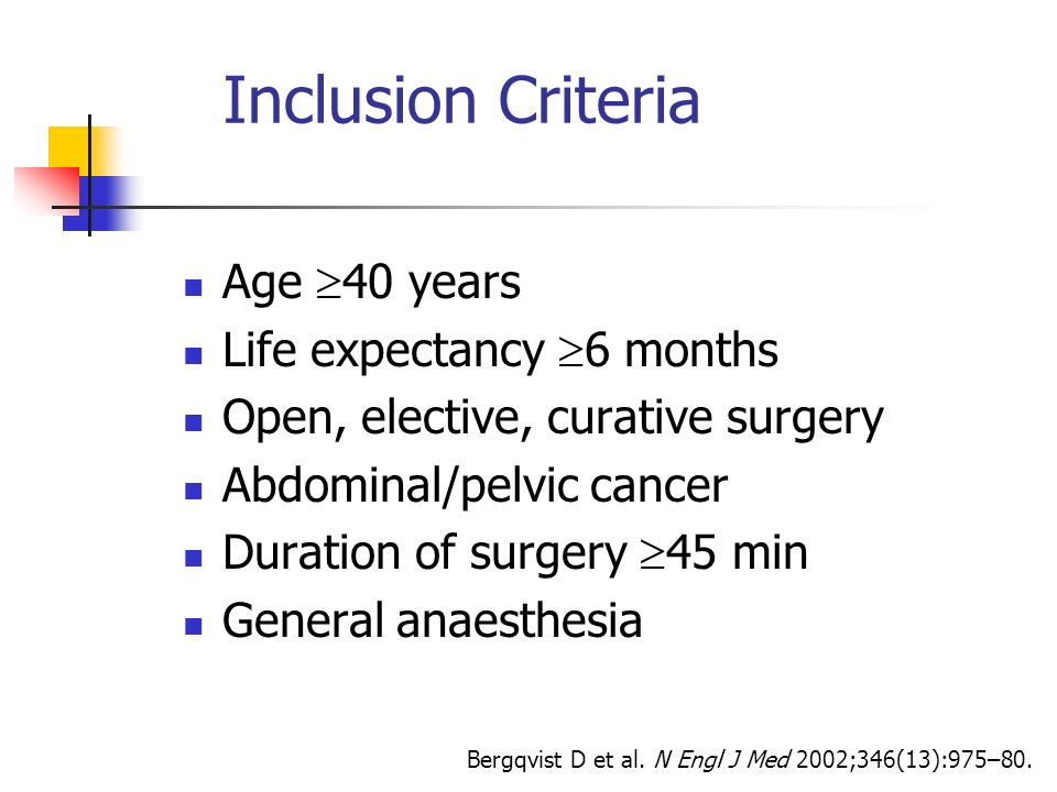 Inclusion Criteria Age 40 years Life expectancy 6 months