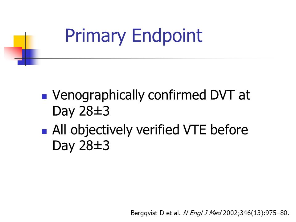 Primary Endpoint Venographically confirmed DVT at Day 28±3