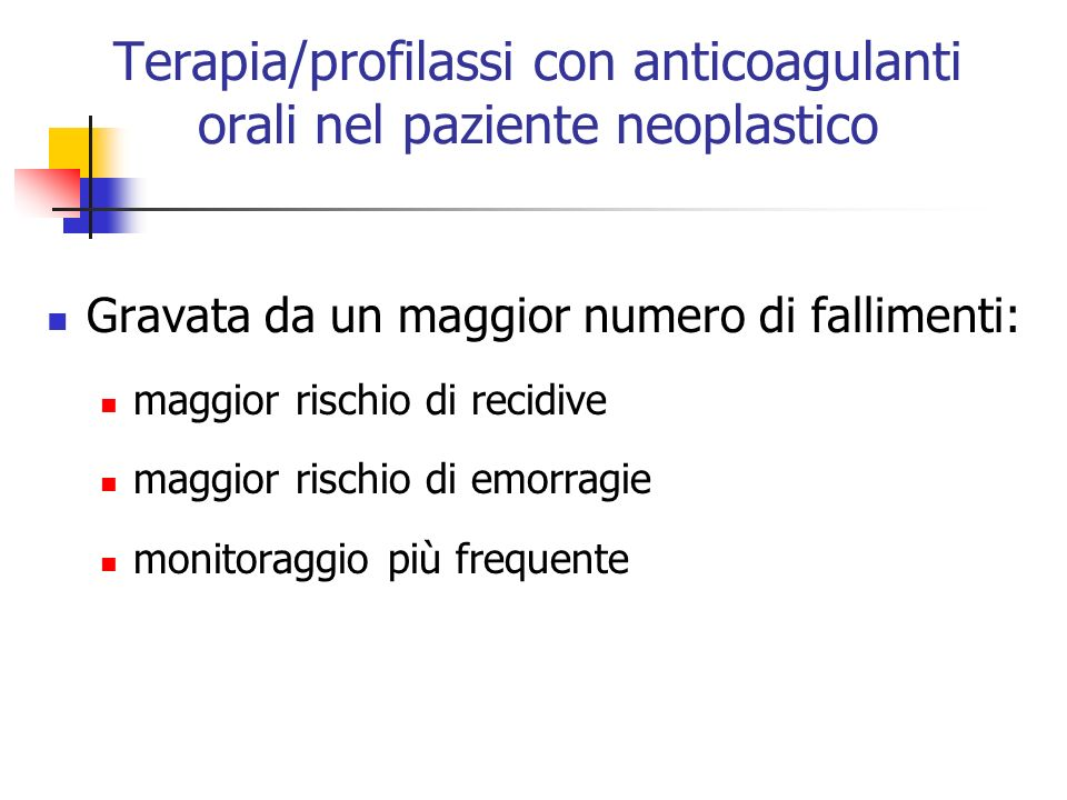 Terapia/profilassi con anticoagulanti orali nel paziente neoplastico