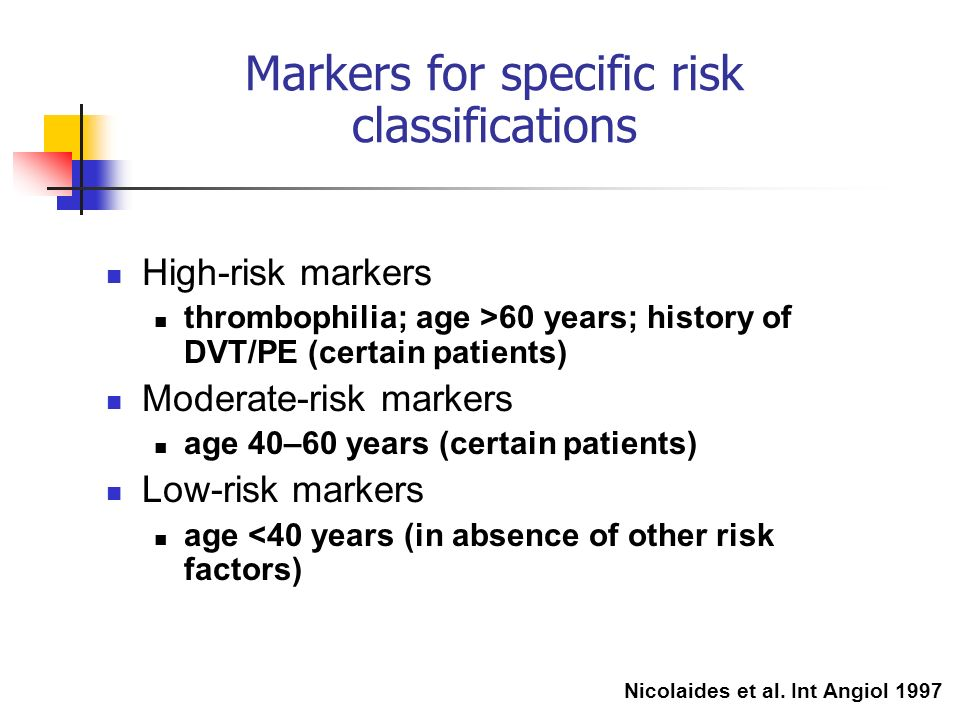 Markers for specific risk classifications