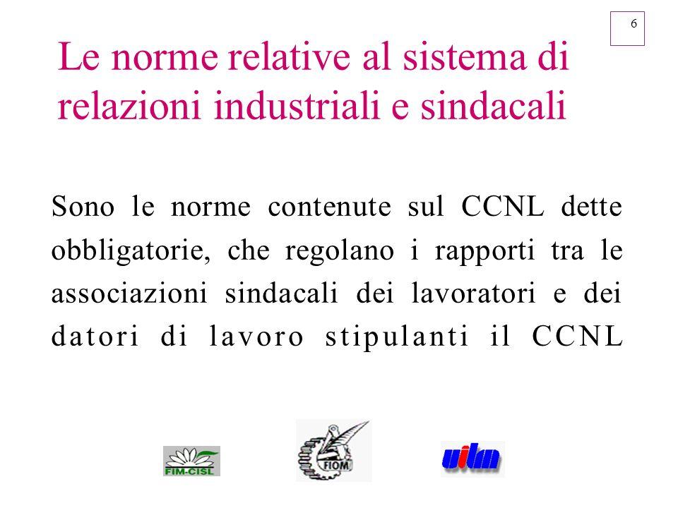 Le norme relative al sistema di relazioni industriali e sindacali