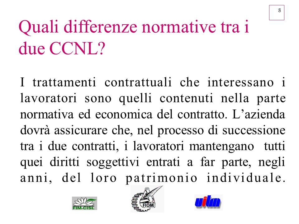 Quali differenze normative tra i due CCNL