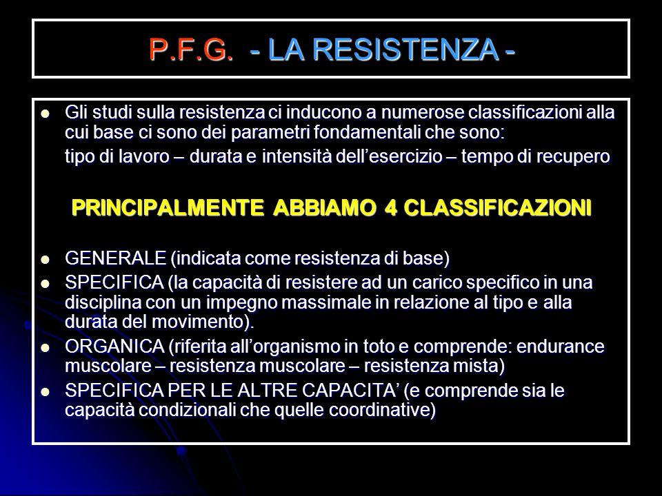 PRINCIPALMENTE ABBIAMO 4 CLASSIFICAZIONI