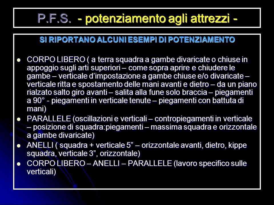 P.F.S. - potenziamento agli attrezzi -
