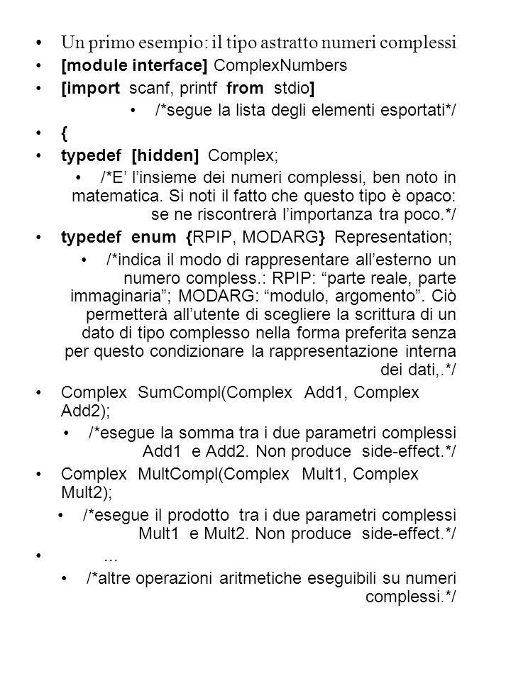 Un primo esempio: il tipo astratto numeri complessi