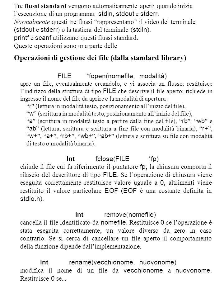 Operazioni di gestione dei file (dalla standard library)