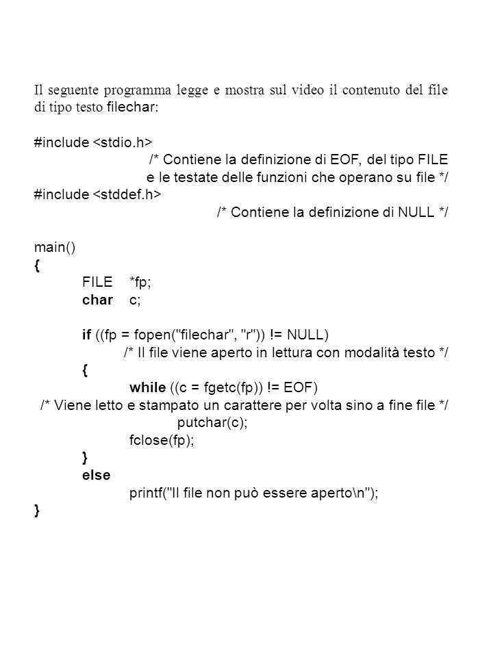 Il seguente programma legge e mostra sul video il contenuto del file di tipo testo filechar: