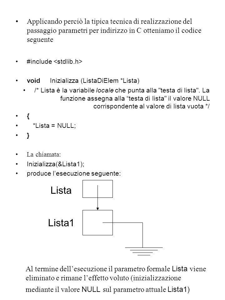 Applicando perciò la tipica tecnica di realizzazione del passaggio parametri per indirizzo in C otteniamo il codice seguente
