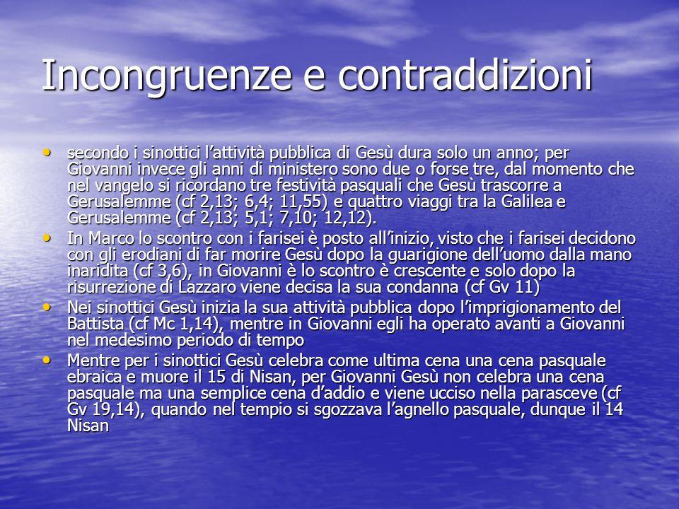Incongruenze e contraddizioni