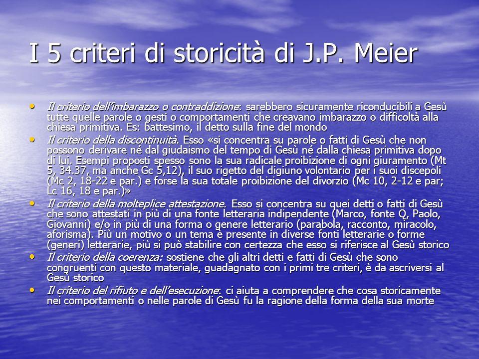 I 5 criteri di storicità di J.P. Meier