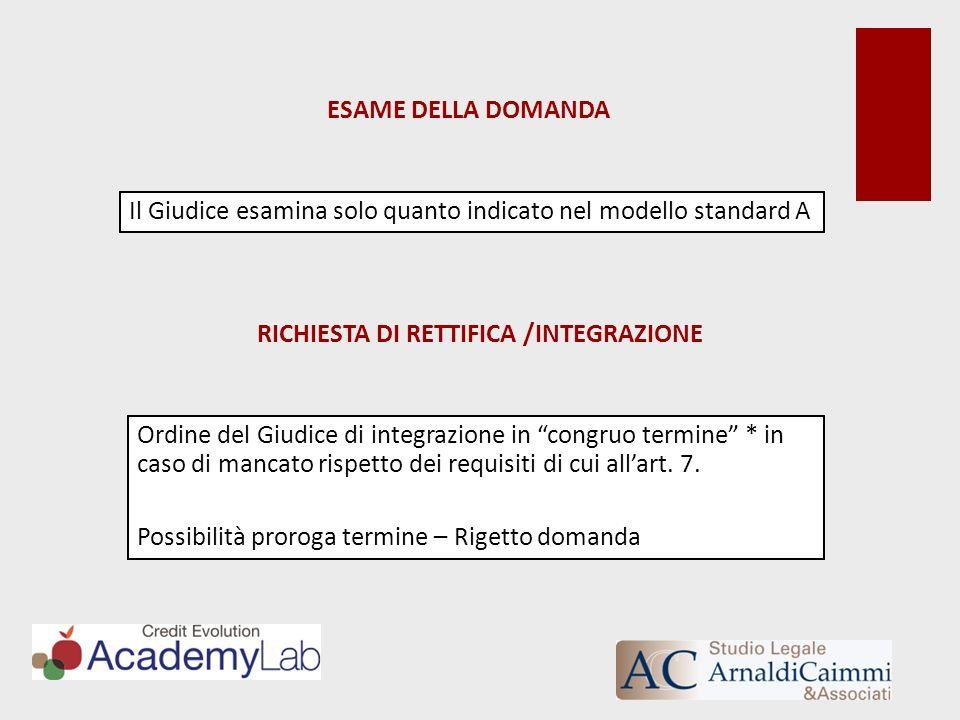 RICHIESTA DI RETTIFICA /INTEGRAZIONE