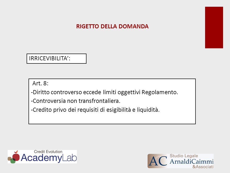 RIGETTO DELLA DOMANDA IRRICEVIBILITA': Art. 8: Diritto controverso eccede limiti oggettivi Regolamento.