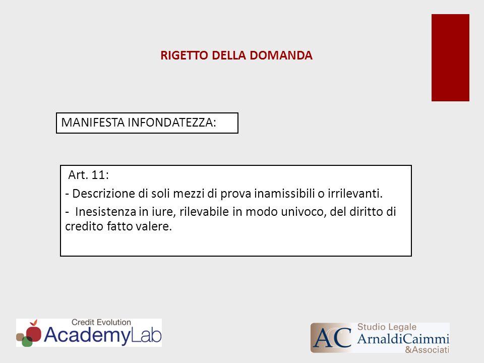 RIGETTO DELLA DOMANDA MANIFESTA INFONDATEZZA: Art. 11: Descrizione di soli mezzi di prova inamissibili o irrilevanti.