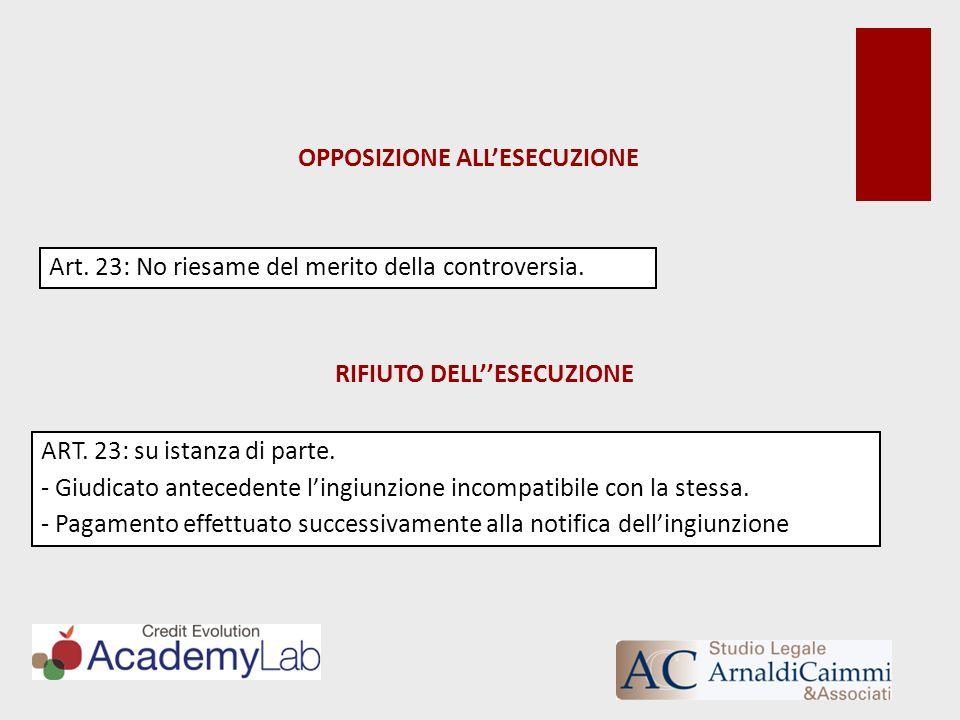 OPPOSIZIONE ALL'ESECUZIONE RIFIUTO DELL''ESECUZIONE