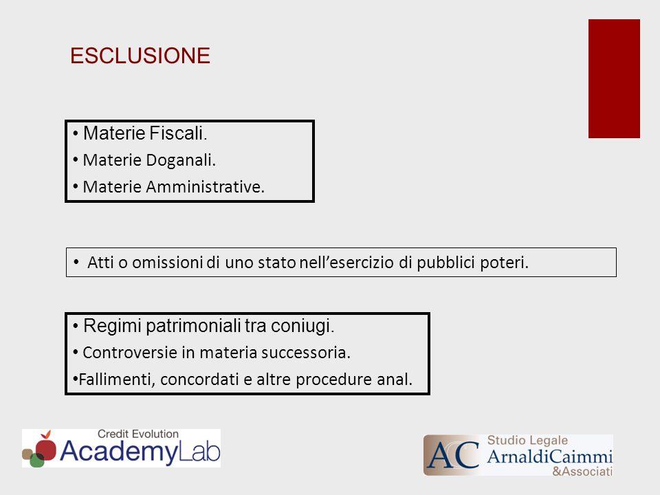 ESCLUSIONE Materie Fiscali. Materie Doganali. Materie Amministrative.