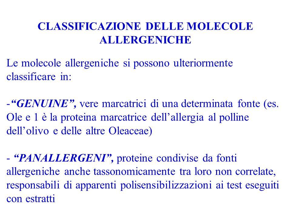 CLASSIFICAZIONE DELLE MOLECOLE ALLERGENICHE