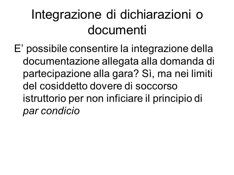 Integrazione di dichiarazioni o documenti