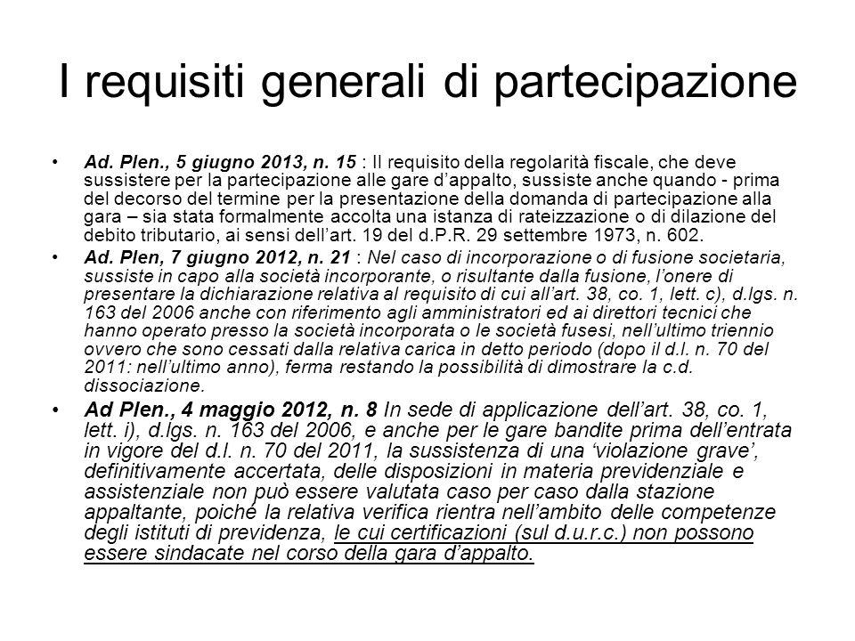 I requisiti generali di partecipazione