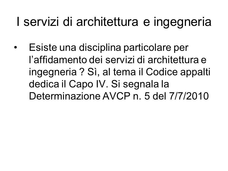 I servizi di architettura e ingegneria