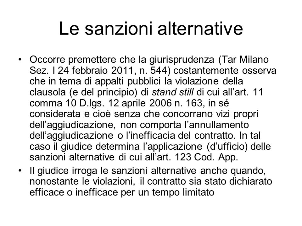 Le sanzioni alternative