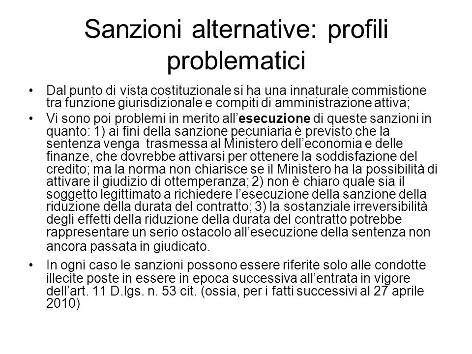 Sanzioni alternative: profili problematici